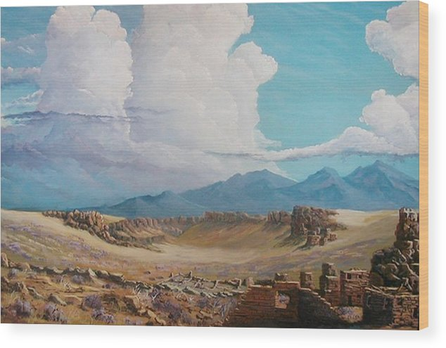 Landscape Wood Print featuring the painting Time Stands Still by John Wise