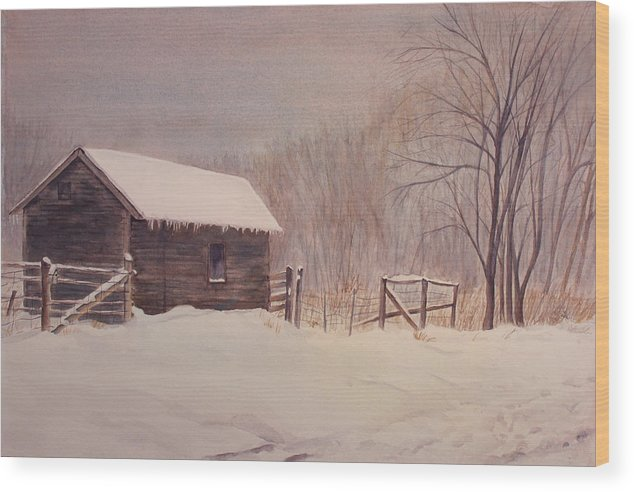 Barn Wood Print featuring the painting Winter on the Farm by Debbie Homewood