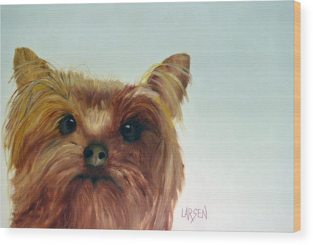 Wood Print featuring the painting Yorkshire Terrier by Dick Larsen