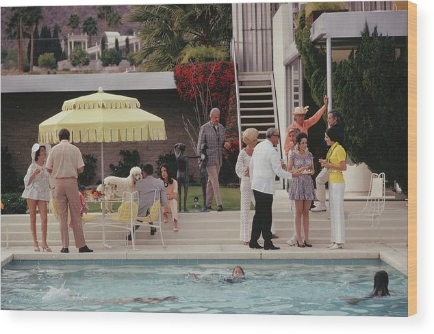 People Wood Print featuring the photograph Poolside Party by Slim Aarons