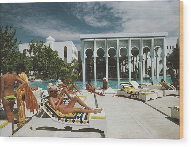 People Wood Print featuring the photograph Armandos Beach Club by Slim Aarons