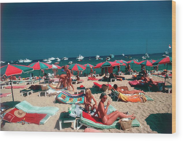 People Wood Print featuring the photograph Beach At St. Tropez by Slim Aarons