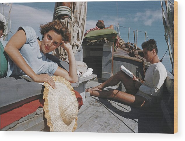 Straw Hat Wood Print featuring the photograph Capri Cruise by Slim Aarons