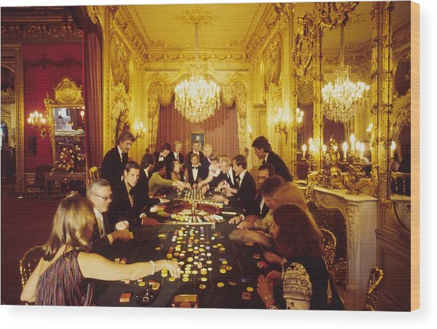 Baden-baden Wood Print featuring the photograph Casino Life by Slim Aarons