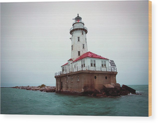 Lighthouse Wood Print featuring the photograph Chicago Lighthouse by Fred DeSousa