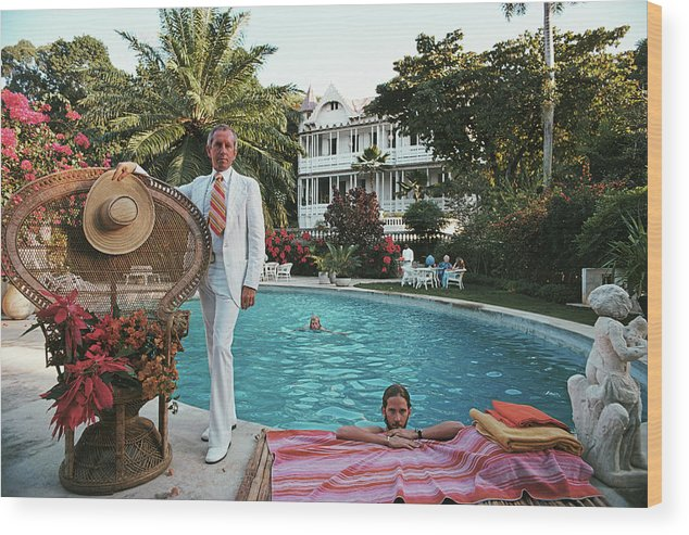 Crowd Wood Print featuring the photograph Lawrence Peabody II by Slim Aarons