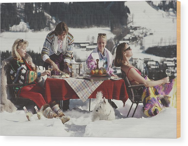 People Wood Print featuring the photograph Luxury In The Snow by Slim Aarons
