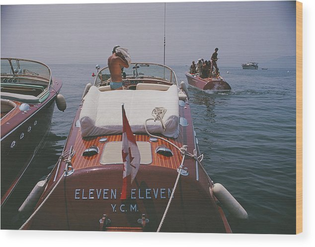 People Wood Print featuring the photograph Motorboats In Antibes by Slim Aarons
