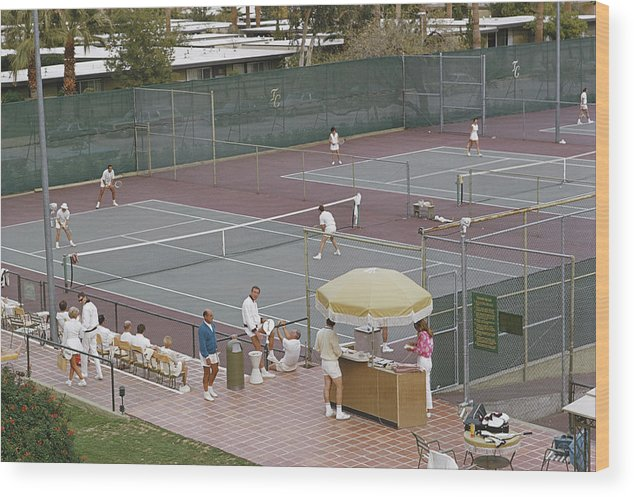 Tennis Wood Print featuring the photograph Palm Springs Tennis Club by Slim Aarons