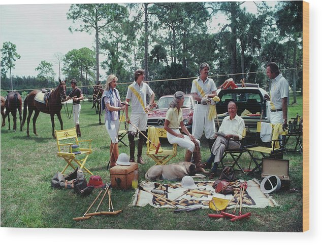 Horse Wood Print featuring the photograph Polo Party by Slim Aarons