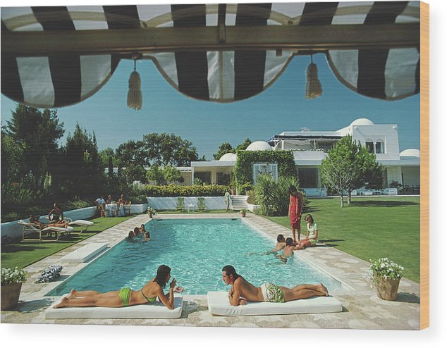 People Wood Print featuring the photograph Poolside In Sotogrande by Slim Aarons