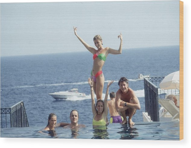 Young Men Wood Print featuring the photograph Posing At Cap Ferrat by Slim Aarons