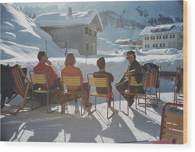 Shadow Wood Print featuring the photograph Relaxing In Lech by Slim Aarons