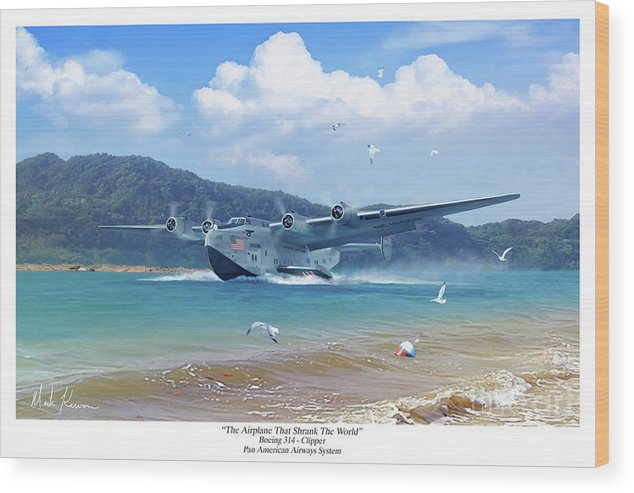 Pan Am Wood Print featuring the digital art The Airplane That Shrank The World by Mark Karvon