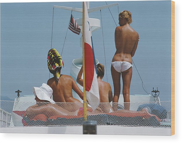 People Wood Print featuring the photograph Yacht Holiday by Slim Aarons