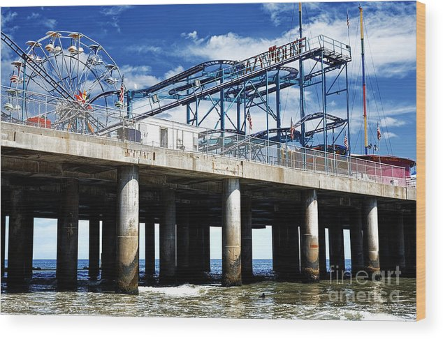 Crazy Mouse Wood Print featuring the photograph Crazy Mouse on the Steel Pier in Atlantic City by John Rizzuto