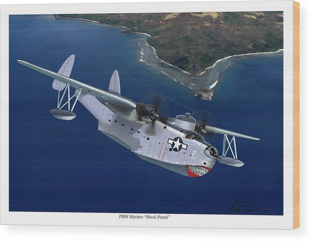 Aviation Art Wood Print featuring the painting PBM Mariner by Mark Karvon