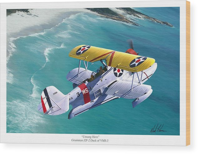 Aviation Wood Print featuring the painting Unsung Hero - Grumman J2F Duck by Mark Karvon