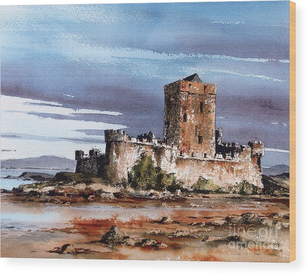 Val Byrne Wood Print featuring the painting Doe Castle In Donegal by Val Byrne