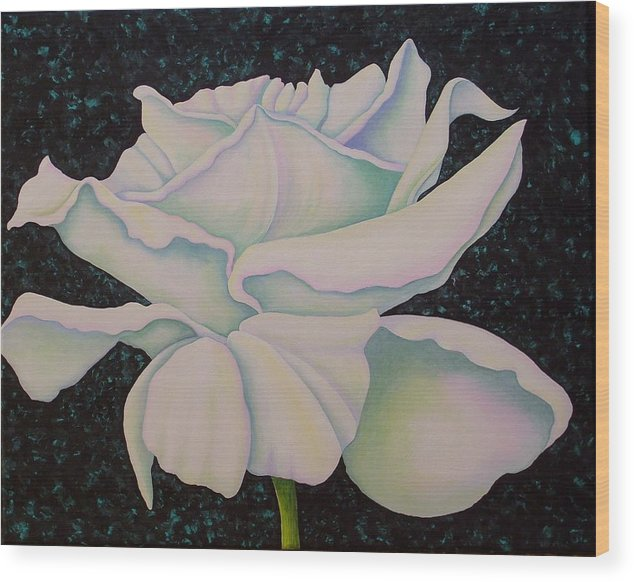 Acrylic Wood Print featuring the painting White Rose by Carol Sabo