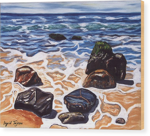 Rocks Wood Print featuring the painting Half Circle Rocks by Ingrid Torjesen