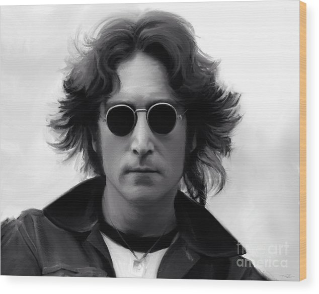 John Lennon Wood Print featuring the painting John Lennon by Paul Tag