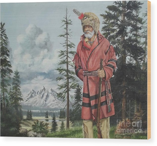 Landscape Wood Print featuring the painting Terry The Mountain Man by Wanda Dansereau