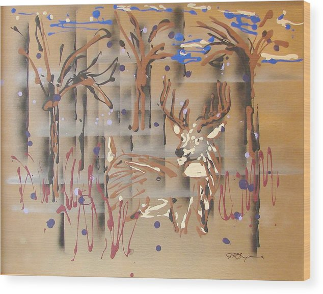 Buck In Tree Line Wood Print featuring the painting Everwatchful by J R Seymour