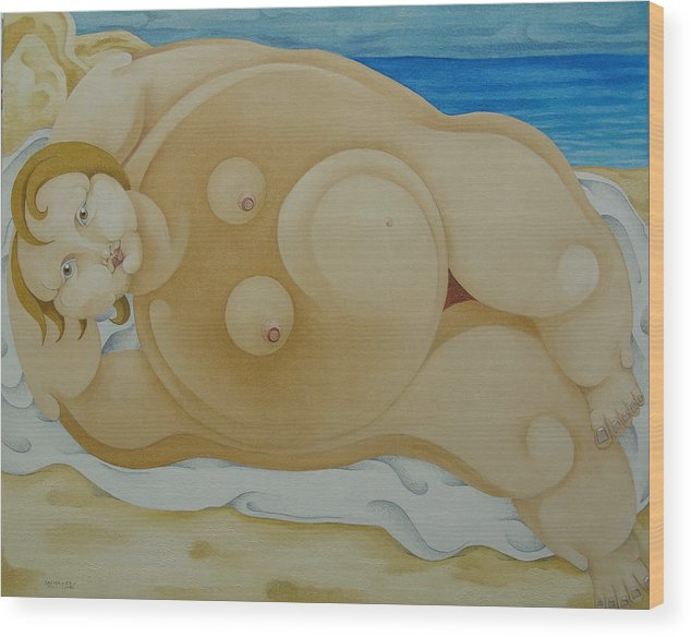 Sacha Circulism Circulismo Wood Print featuring the painting Johanna on the Beach 2007 by S A C H A - Circulism Technique