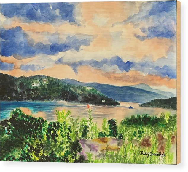Sunset Wood Print featuring the painting Quiet Waters by Judy Swerlick