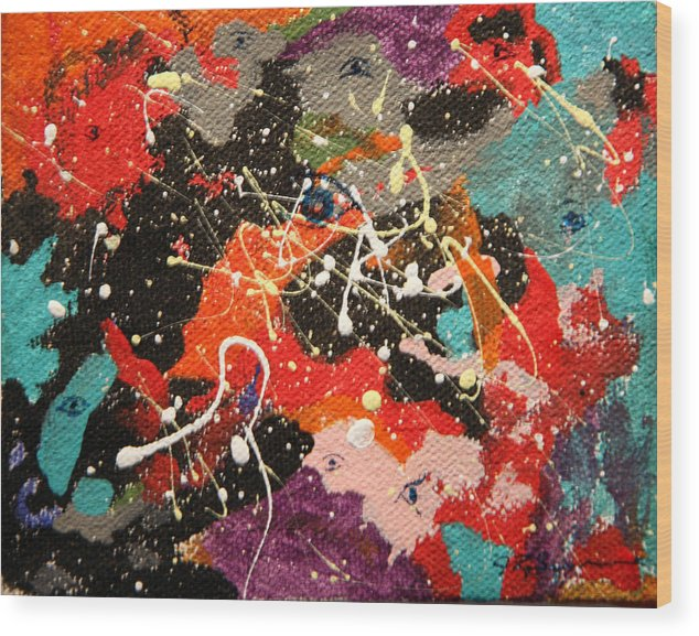 Abstract Wood Print featuring the mixed media Through The Eyes Of The Universe by J R Seymour