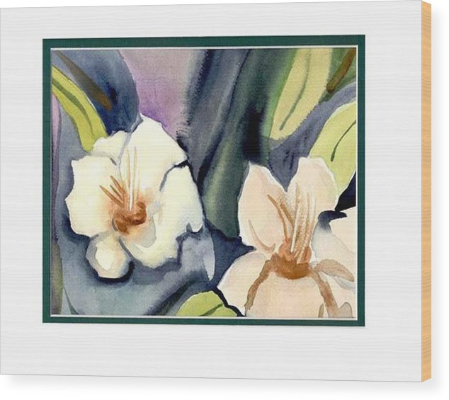 White Flowers Wood Print featuring the painting White flowers by Janet Doggett