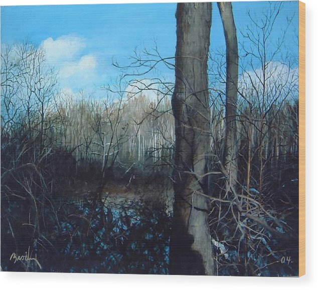 Landscape Wood Print featuring the painting Winter Trees by William Brody