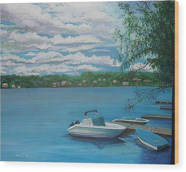 Lake Wood Print featuring the painting Lake Quinsigamond In Massachusetts Acrylic by Rebecca Marona