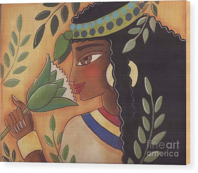 Ancient Egyptian Wood Print featuring the painting Ancient Egyptian Belle by Elaine Jackson