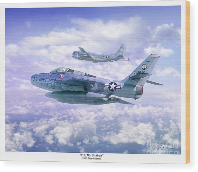 Aviation Wood Print featuring the painting Cold War Sentinels by Mark Karvon