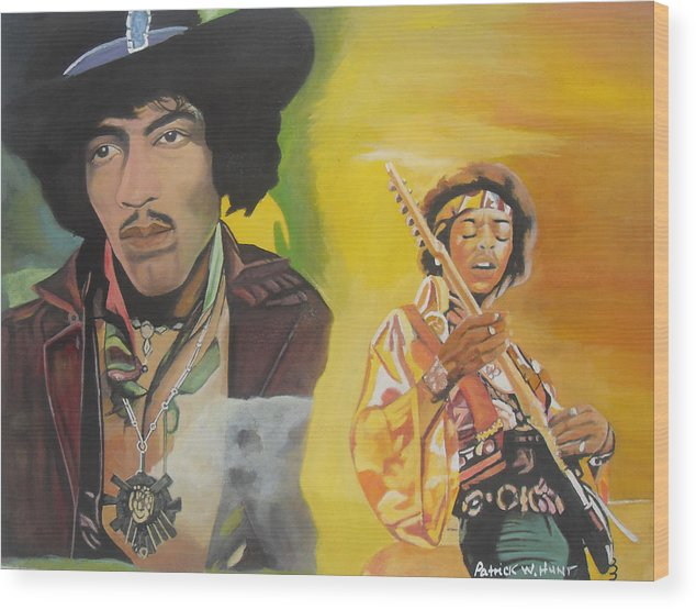 Jimmy Hendrix Wood Print featuring the painting Jimmy Hendrix by Patrick Hunt