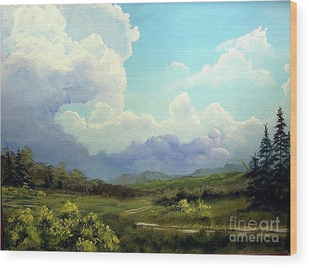 Clouds Wood Print featuring the painting Scotch Broom by John Wise