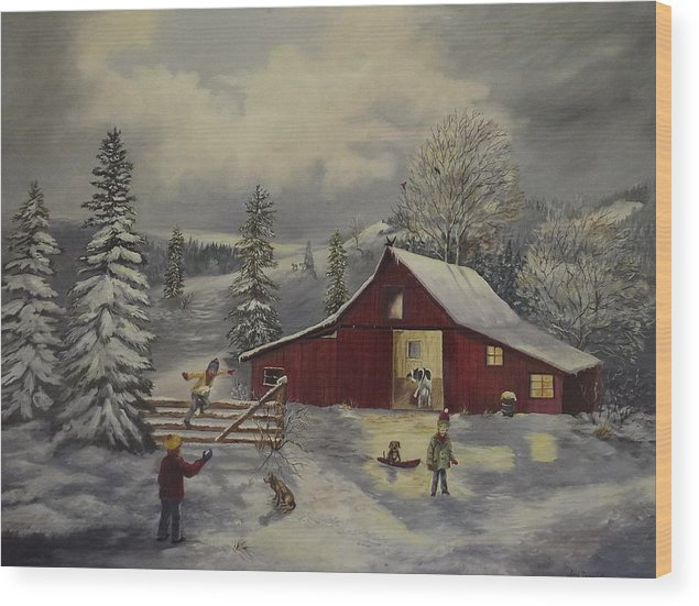 Barn Wood Print featuring the painting Snow Day  by Wanda Dansereau