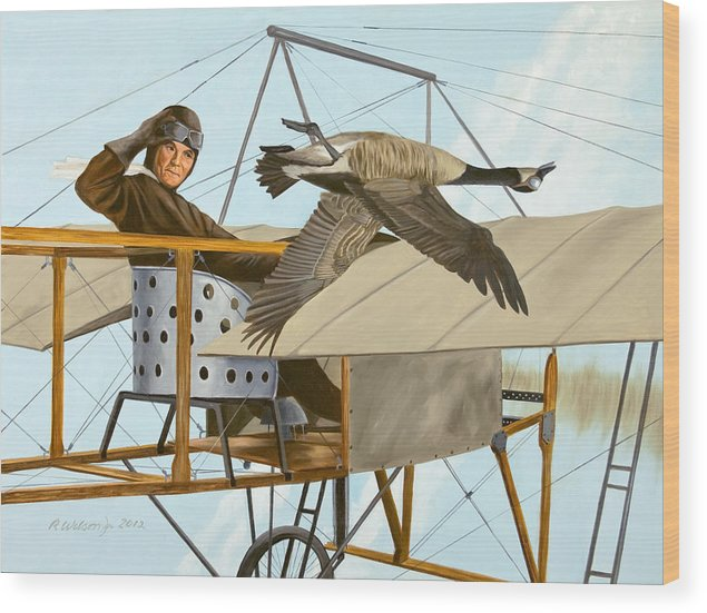 Aviator Wood Print featuring the painting The Fledgling by Karen Wilson