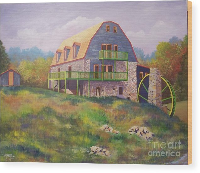 Mill Wood Print featuring the painting Mountain Mill by Hugh Harris