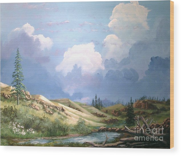 Clouds Wood Print featuring the painting Alpine Vale by John Wise