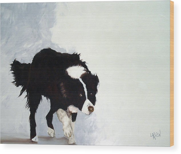 Border Collie Wood Print featuring the painting Border Collie by Dick Larsen