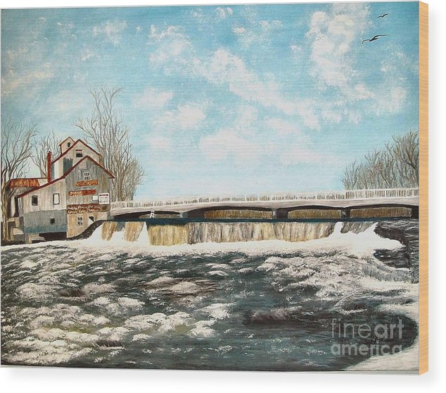 Mills Paintings Wood Print featuring the painting Chisholms Mill by Peggy Holcroft