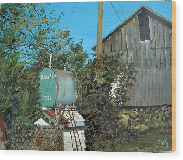 Barn Wood Print featuring the painting Diesel Fuel by William Brody