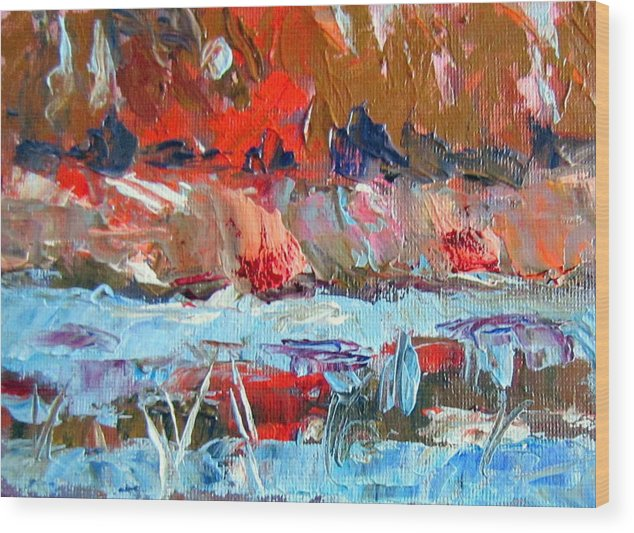 Water Wood Print featuring the painting Fast Water by Lia Marsman