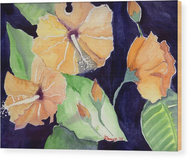 Orange Flowers Wood Print featuring the painting Floral affair by Janet Doggett