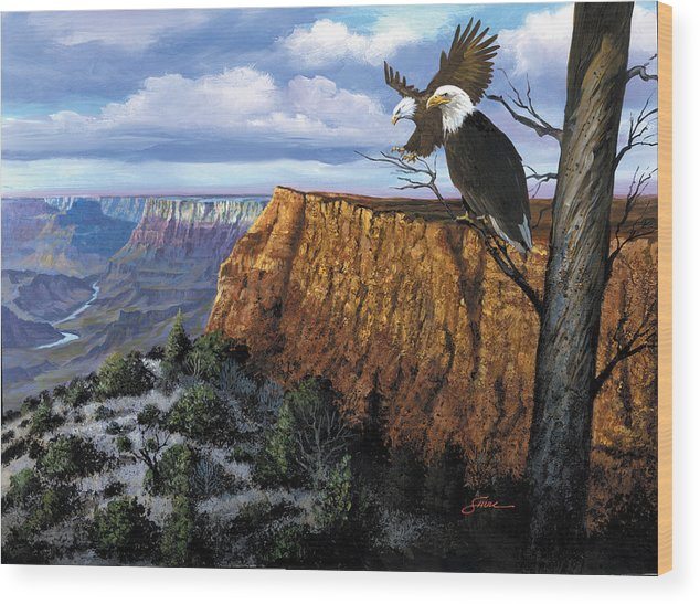 Grand Canyon Wood Print featuring the painting Grand Canyon Lookout by Harold Shull