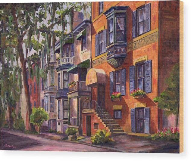Savannah Wood Print featuring the painting Hull Street In Chippewa Square Savannah by Jeff Pittman