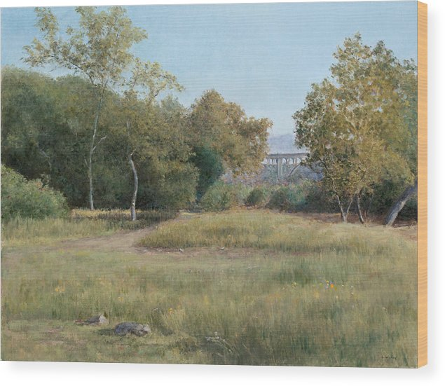 Landscape Wood Print featuring the painting Morning in the Arroyo Seco by Laura Wynne